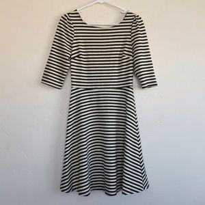 Pixley Cream & Black Striped Sheath Dress Small
